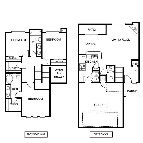 1,494 sq. ft. B3 floor plan