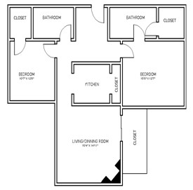 1,086 sq. ft. B1 floor plan