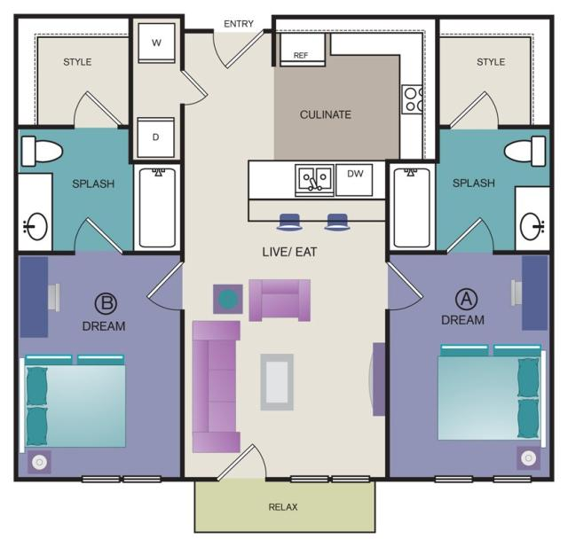 879 sq. ft. B5 floor plan