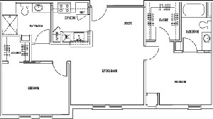 964 sq. ft. to 970 sq. ft. CHADWICK floor plan
