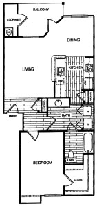 796 sq. ft. A5 floor plan