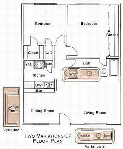 1,079 sq. ft. E2 floor plan