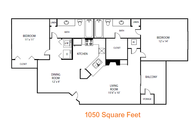 1,050 sq. ft. Evergreen floor plan