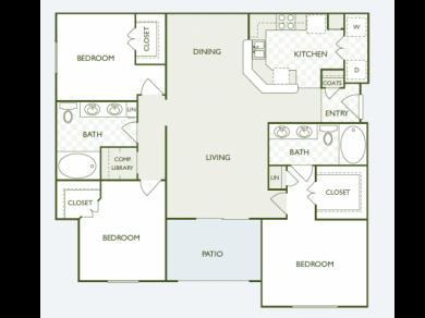 1,348 sq. ft. C1.2 floor plan