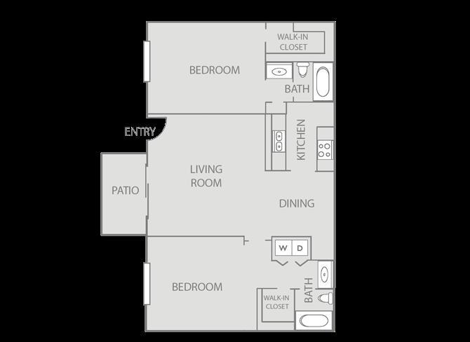 943 sq. ft. Oxford/Mkt floor plan
