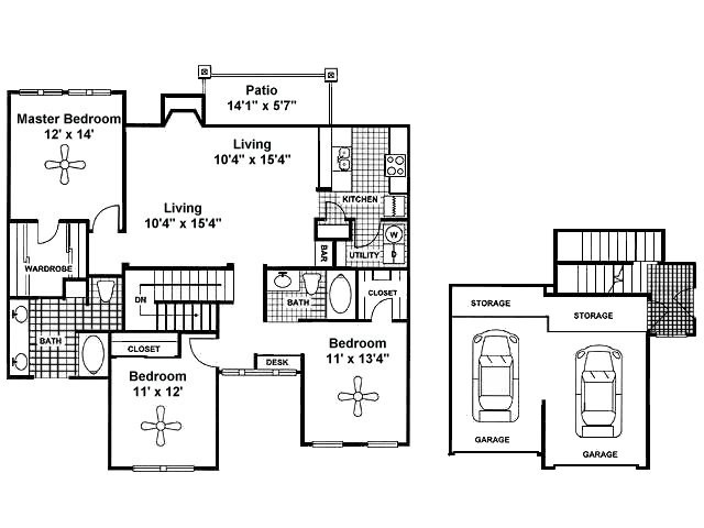 1,458 sq. ft. C2 2nd Flr floor plan
