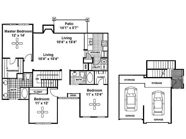 1,458 sq. ft. C2 2nd Flr floor plan