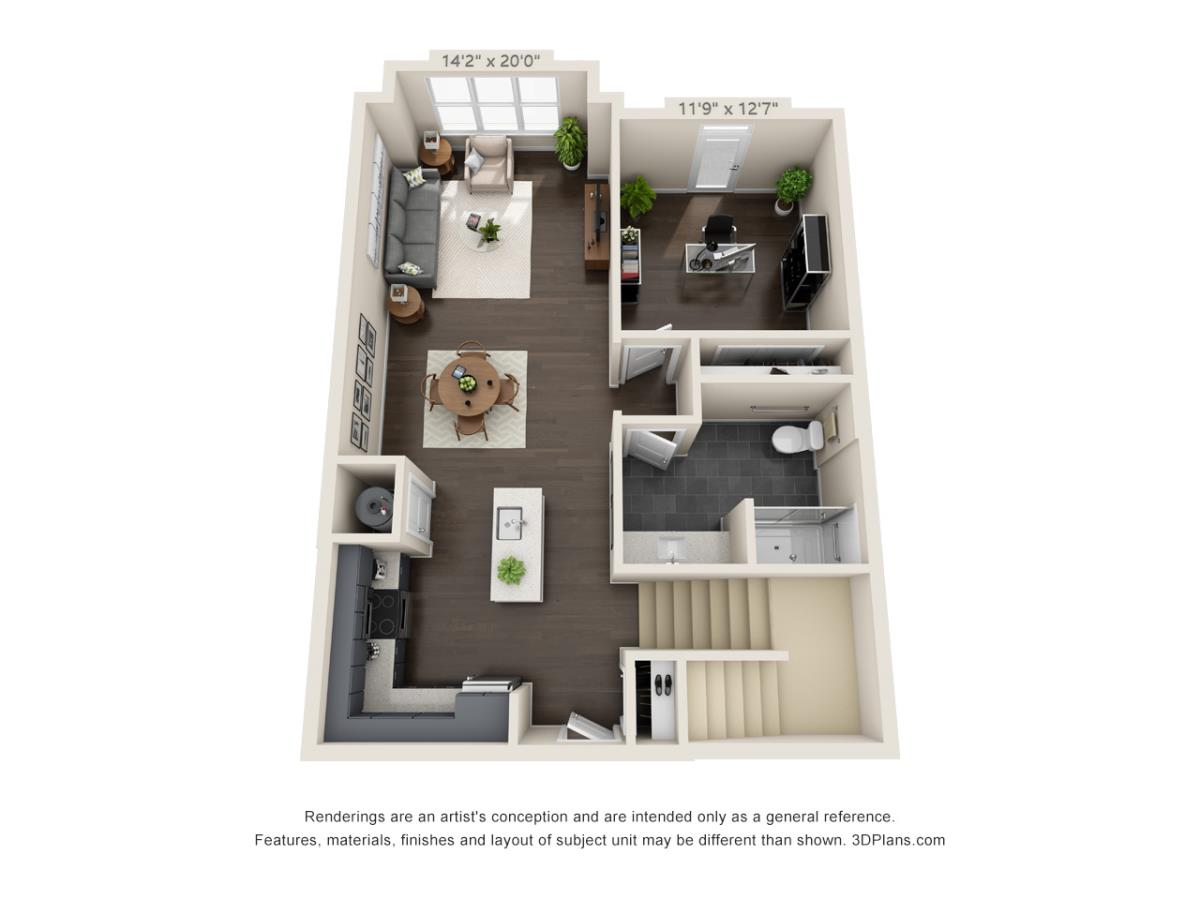 1,472 sq. ft. Loft A floor plan