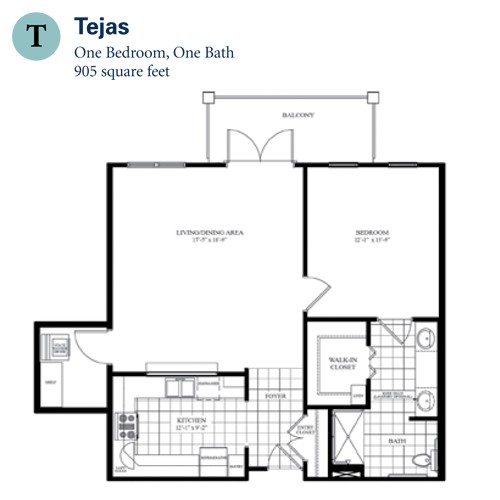 905 sq. ft. Tejas floor plan