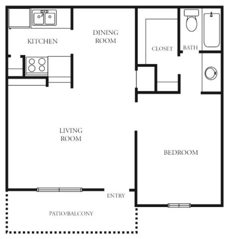 640 sq. ft. to 664 sq. ft. B floor plan