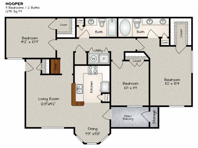 1,295 sq. ft. HOOPER floor plan