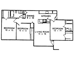 1,043 sq. ft. F floor plan