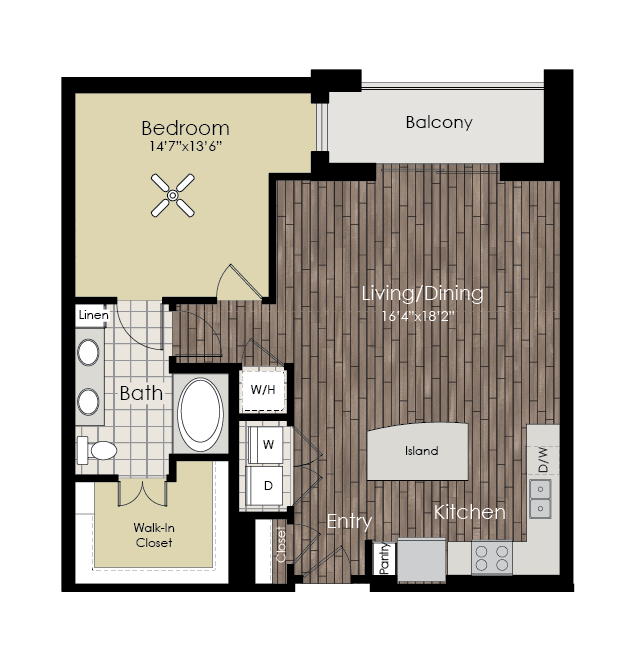 889 sq. ft. A10 floor plan