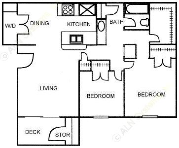 870 sq. ft. D floor plan