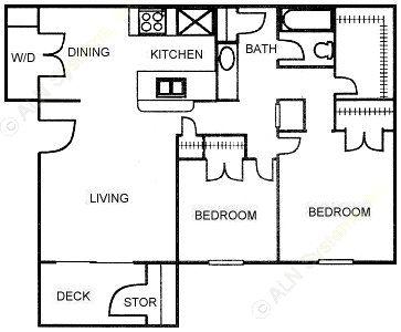870 sq. ft. D2 floor plan