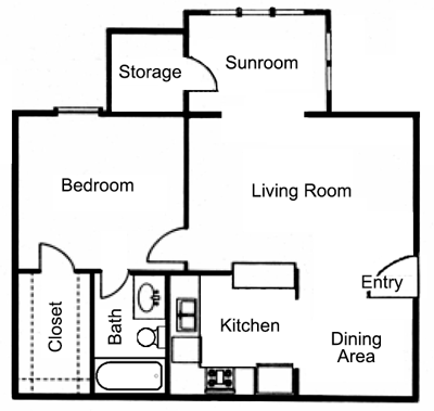 666 sq. ft. A1S floor plan
