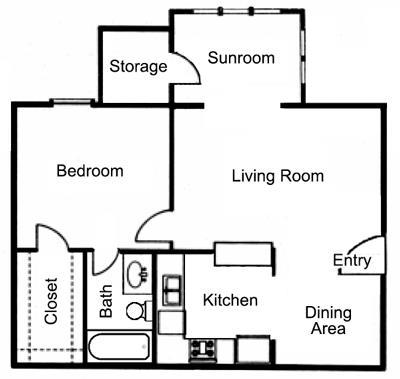 666 sq. ft. A1S floor plan