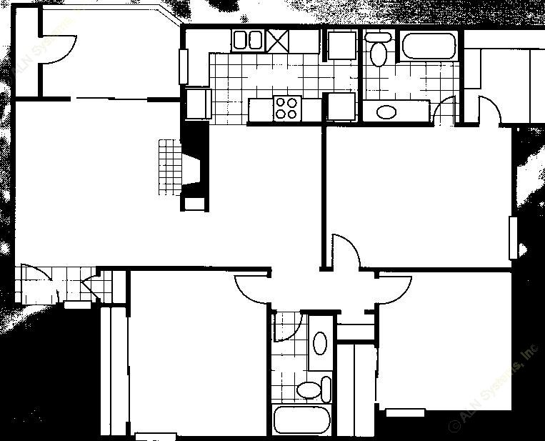 1,225 sq. ft. C2 floor plan