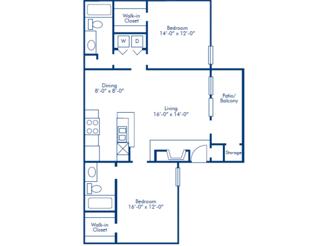 917 sq. ft. C floor plan