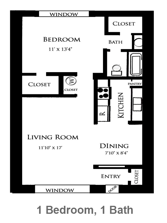 800 sq. ft. Rose floor plan