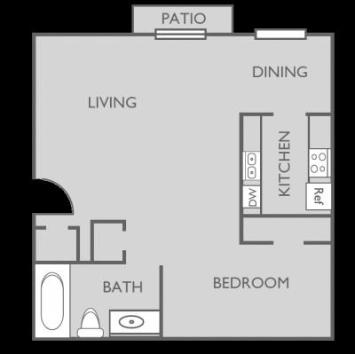 492 sq. ft. EFF 2 floor plan