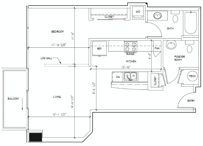 767 sq. ft. MATISSE floor plan
