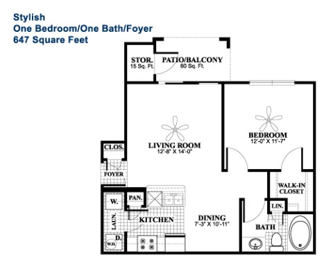 647 sq. ft. Stylish floor plan
