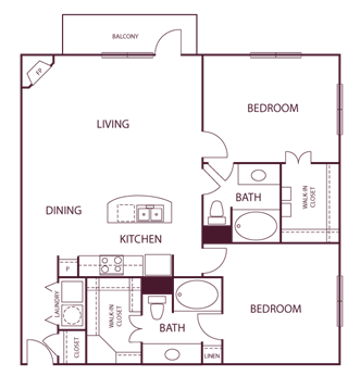 1,205 sq. ft. B8 floor plan
