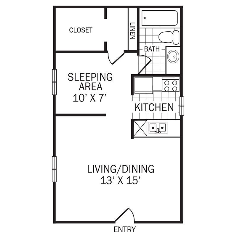 443 sq. ft. A1 floor plan