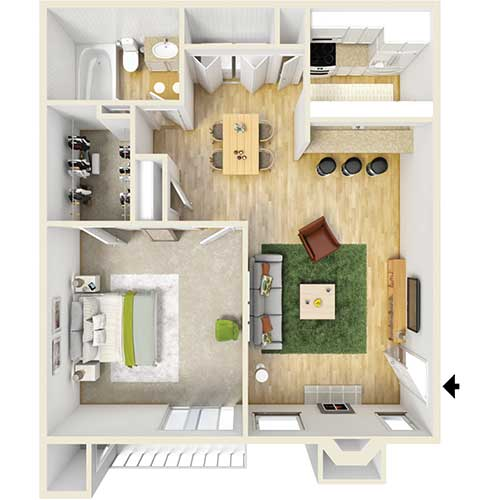 650 sq. ft. A5 floor plan