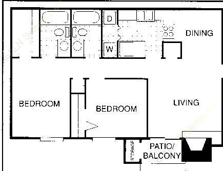 878 sq. ft. F floor plan