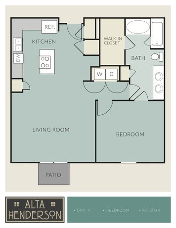959 sq. ft. K floor plan
