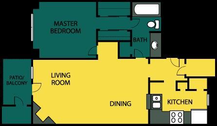715 sq. ft. Indulge floor plan