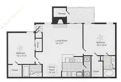 1,119 sq. ft. G PH I floor plan