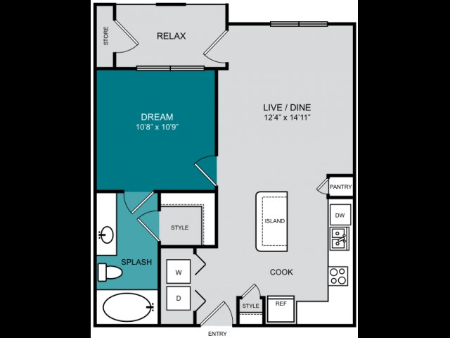 621 sq. ft. A1-A FLATS floor plan