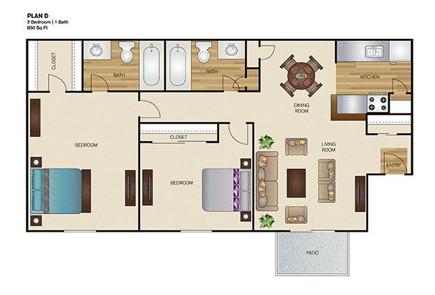 800 sq. ft. floor plan