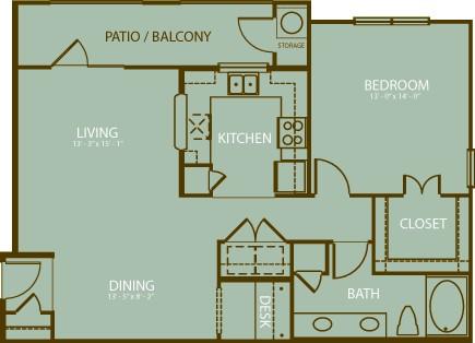 930 sq. ft. Oakmont floor plan