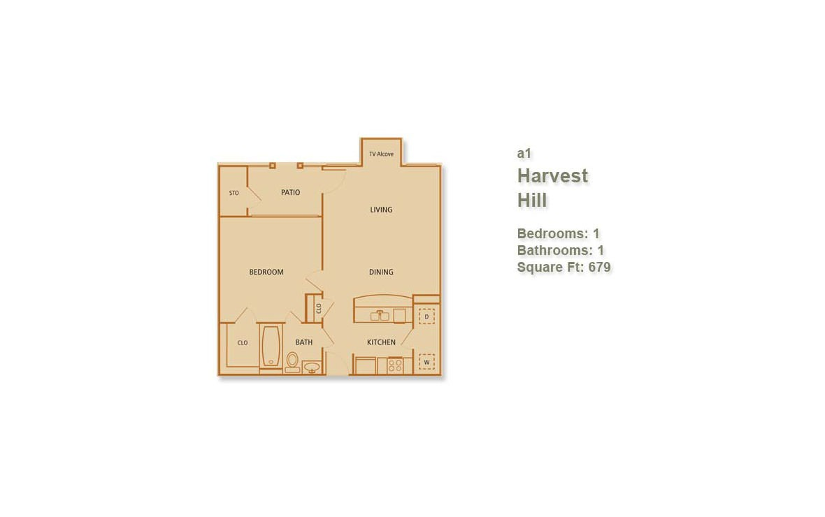 679 sq. ft. Harvest Hill floor plan