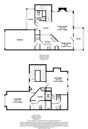 1,147 sq. ft. TH2-GAR floor plan