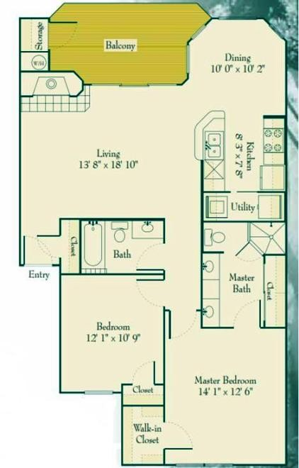1,102 sq. ft. B1 floor plan