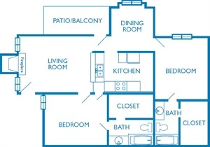 975 sq. ft. The Bellaire floor plan