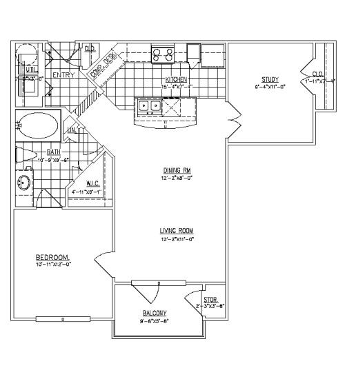 832 sq. ft. White Oak II floor plan