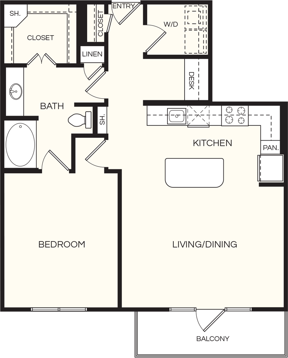 922 sq. ft. A3 floor plan