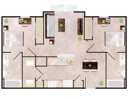 843 sq. ft. Frisco floor plan