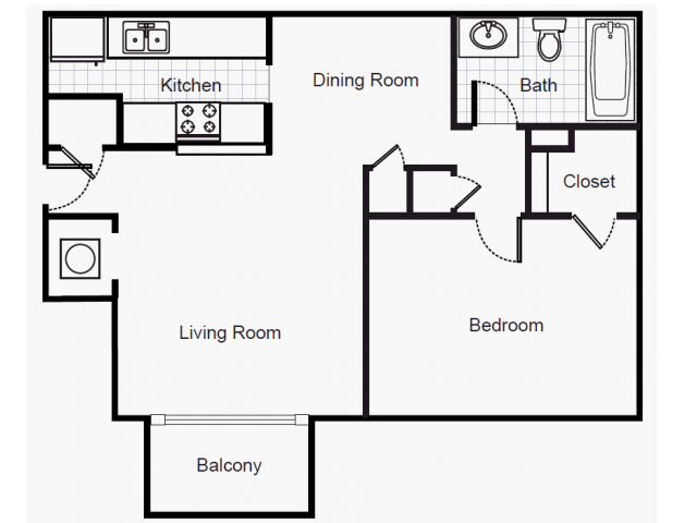 780 sq. ft. A2/80% floor plan