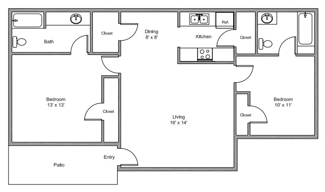 881 sq. ft. D floor plan