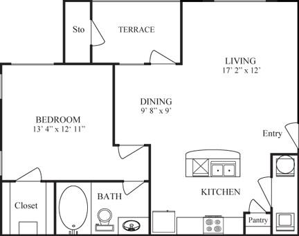 747 sq. ft. CORONADO floor plan