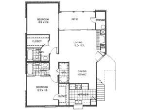 999 sq. ft. B floor plan