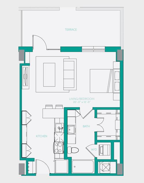 589 sq. ft. S1.8 floor plan