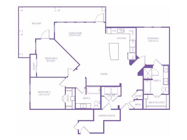1,517 sq. ft. C1 floor plan